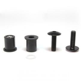 Lot de 8 vis alu noir M6 + écrou caoutchouc + rondelle - kit fixation pour bulle ou carénage