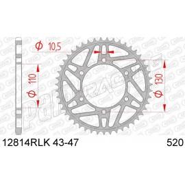 Couronne acier racing 520 GSXR 600/750/1000 / R1 / R6 / FZ1 / FZ6 / MT-09 / XJR 1300 AFAM