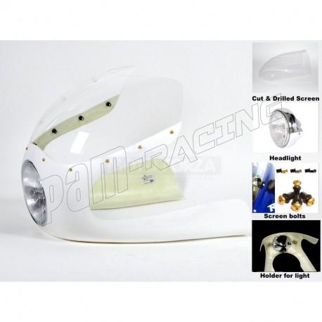 Kit Semi-carénage Cafe Racer fibre de verre 350-1000 CM3 lampe 7 pouces